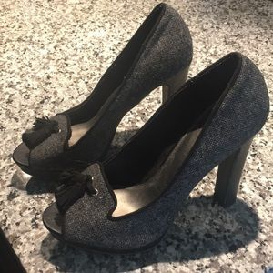 Winter Tweed Wool Look High Heels